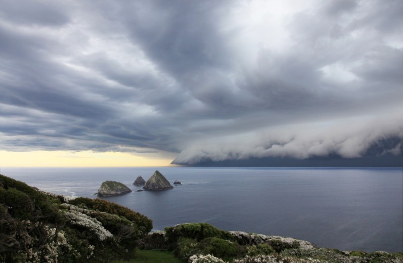 Thunderstorm approaches Maatsuyker Island off Tasmania's southern coast