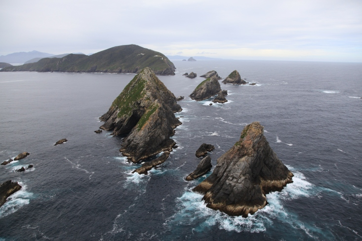 Maatsuyker Island with Needle Rocks in foreground